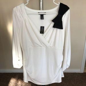 NWT White House Black Market Wrap Top, White, XL